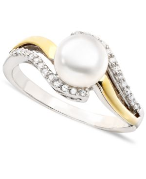 14k Gold & Sterling Silver Cultured Freshwater Pearl & Diamond Accent Ring thumbnail