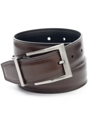 Perry Ellis Leather Reversible Casual Belt, Big - Dress Like Don Draper