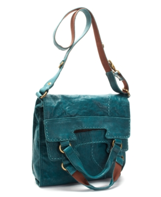Lucky Brand Jeans Handbag, Foldover Flap Leather Bag