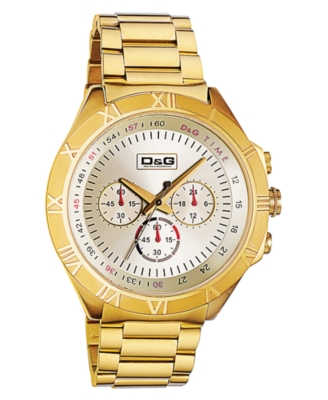 D&G Watch, Men's Pampellone Chronograph Ion-Plated Goldtone Stainless Steel Bracelet DW0432