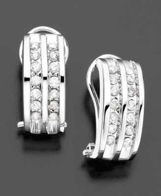 14k White Gold Diamond Two-Row Hoop Earrings (1/4 ct. t.w.)