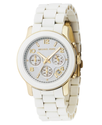 MICHAEL Michael Kors Watch, Women's White Polyurethane and Goldtone Mixed Metal Bracelet MK5145
