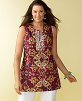 Charter Club Plus Size Beaded-Neckline Sleeveless Printed Tunic