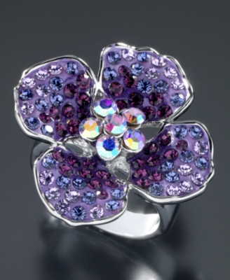 GUESS Violet Crystal Accent Flower Ring