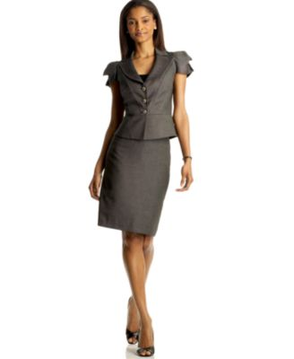 Nine West Two Piece Notched Collar Skirt Suit