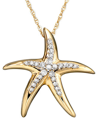 starfish pendant necklace in 14k gold 1 10 ct t