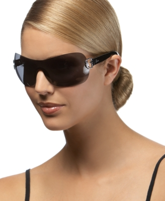 GUESS? Rimless Shield Sunglasses with Rhinestone Logo