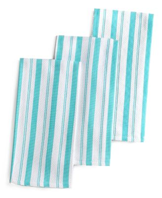 Martha Stewart Collection Set of 3 Basket Weave Aqua-Striped Kitchen Towels, Only at Macy's
