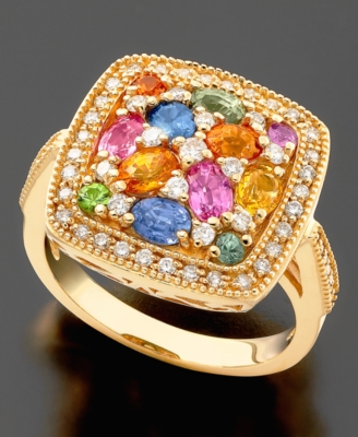 14k Gold Ring, Sapphire (2-3/8 ct. t.w.) and Diamond (3/8 ct. t.w.)