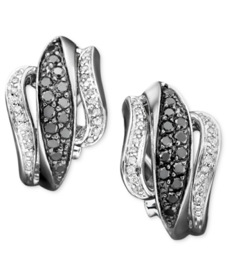14k White Gold Earrings, Black & White Diamond (3/4 ct. t.w.)