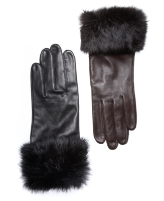 Alfani Gloves, Leather with Rabbit Fur Cuff - Leather Gloves