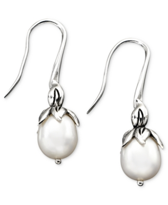 Sterling Silver Earrings, Cultured Freshwater Pearl (8.5-9mm)