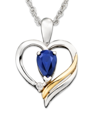 14k Gold and Sterling Silver Pendant, Sapphire (1/2 ct. t.w.) and Diamond Accent