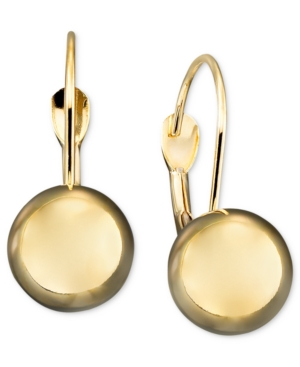 14k Gold Earrings, Ball Leverback