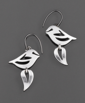 Fossil Earrings, Silvertone Bird