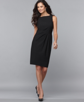 Jones New York Dress, Sleeveless Sheath with Pleats