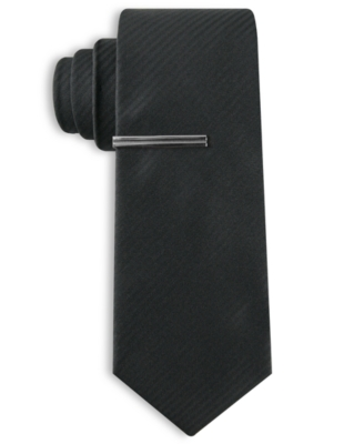 Alfani RED Tie, Skinny Black Tonal Stripe with Tie Bar - Dress Like Don Draper