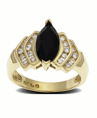 14k Gold Onyx & Diamond (1/3 ct. t.w.) Ring