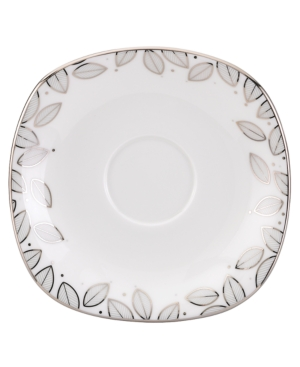 Lenox Lifestyle Dinnerware, Platinum Leaf Square Saucer