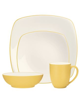 Noritake Dinnerware, Colorwave Mustard Square 4 Piece Place Setting