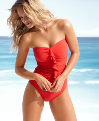 Miraclesuit Swimsuit, Camilla Strapless Ruffled Ruched One Piece Women's Swimsuit