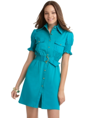 Rampage Dress, Short Sleeve Belted Shirt Dress