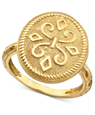 14k Gold Ring, Oval Etruscan
