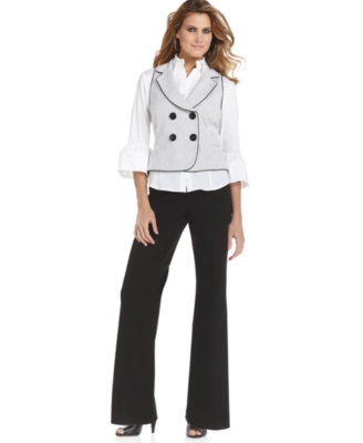 Nine West Suit, Striped Vest, Bell-Sleeve Blouse & Pants