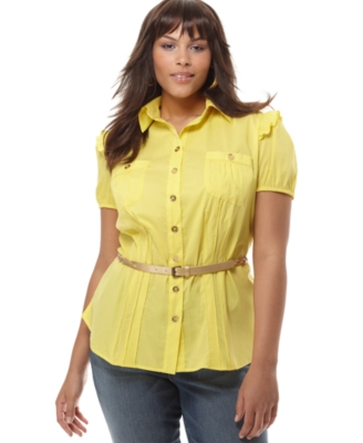 Baby Phat Plus Size Shirt, Puffed Sleeve Pintuck
