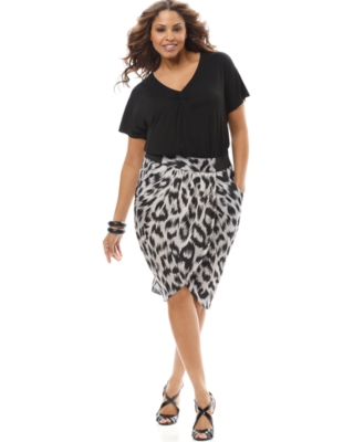 INC International Concepts Plus Size Dress, Short Sleeve Animal Print Tulip Skirt - Day Dress