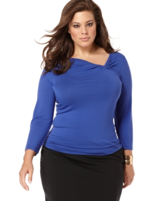 MICHAEL Michael Kors Plus Size Top, Three-Quarter Sleeve Asymmetric V-Neck