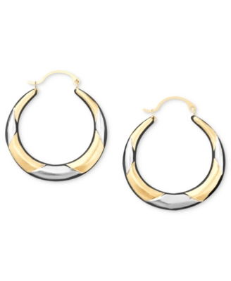 14k Two-Tone Gold Hoop Earrings - Hoop Earrings