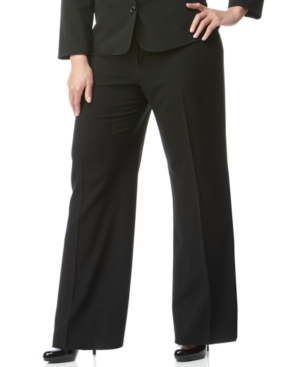 AGB Plus Size Pants, Black Stretch Suiting