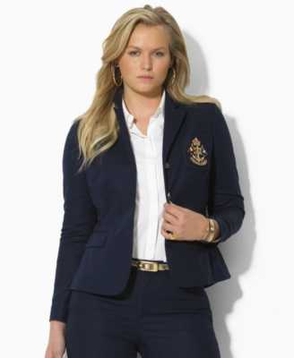 Lauren by Ralph Lauren Plus Size Jacket, Dustin Stretch Cotton Crested