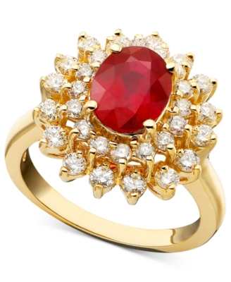Effy Collection 14k Gold Ring, Ruby (2-3/8 ct. t.w.) and Diamond (1 ct. t.w.)