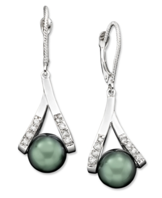 14k White Gold Earrings, Cultured Tahitian Pearl and Diamond Accent