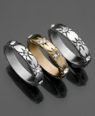 GUESS Rings, Two Tone Mixed Metal Set of Three