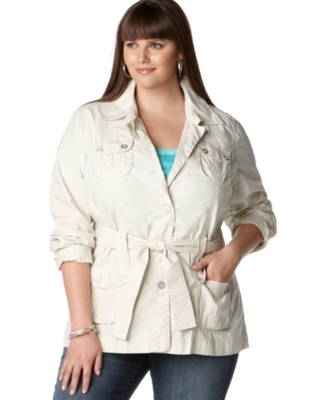 Calvin Klein Jeans Plus Size Jacket, Safari Belted