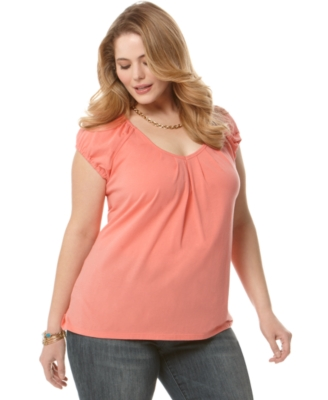 MICHAEL Michael Kors Plus Size Top, Cap Sleeve Knit