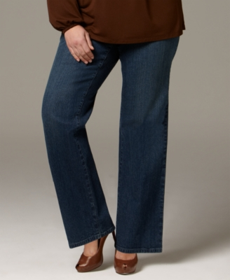 Charter Club Plus Size Jeans, Boot Cut Studded Back Pocket Blue Diamond Wash
