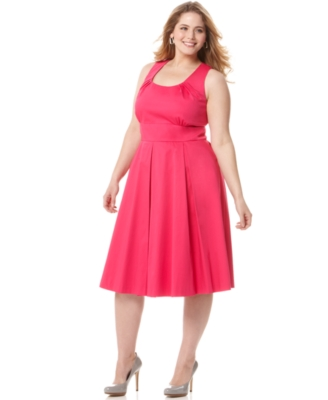 Calvin Klein Plus Size Dress, Sleeveless Scoopneck Cotton