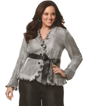 Adrianna Papell Plus Size Top, Ruffle Shirt