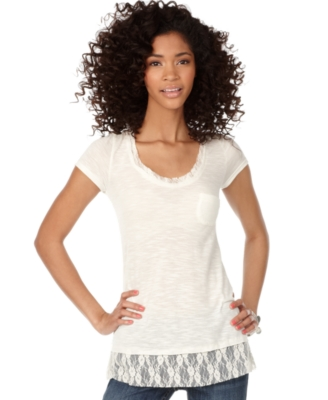 Amercan Rag Top, Lace Trim Tee