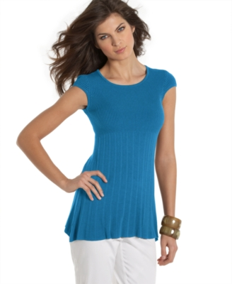 Studio M Petite Top, Cap Sleeve Ribbed Knit