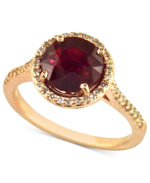 Effy Collection 14k Rose Gold Ring, Ruby (2-5/8 ct. t.w.) and Diamond (1/5 ct. t.w.)