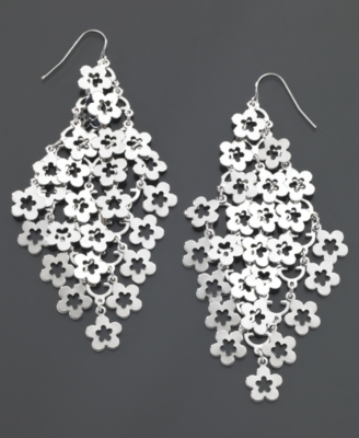 GUESS Earrings, Flower - Chandelier Earrings