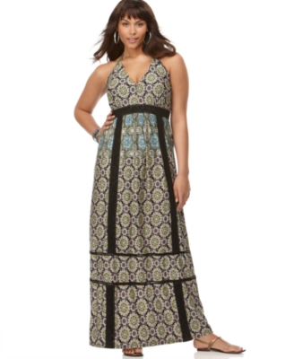 Baby Phat Plus Size Dress, Tile Print Maxi V-Neck
