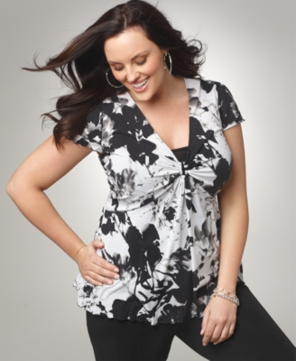 Alfani Plus Size Top, Short Sleeve Printed V-Neck