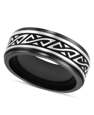 Men's Titanium Ring, Black 8 mm Band (Size 8-15)