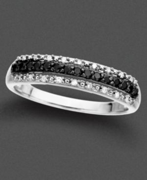 14k Gold Ring, Black and White Diamonds (1/5 ct. t.w.)
